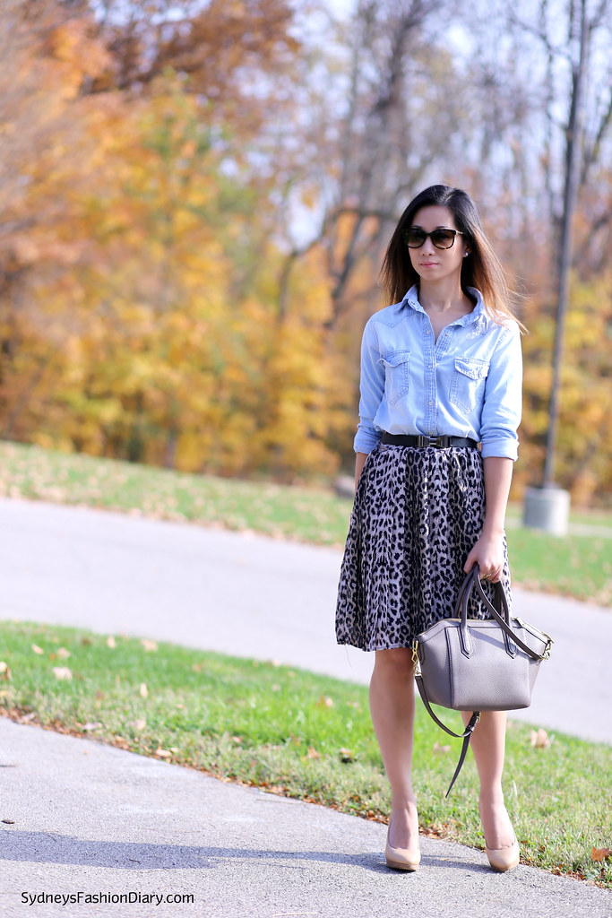 Leopard skirt and chambray shirt