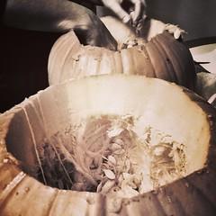 Sacrificial Squash. :hocho::jack_o_lantern: #crimescene #pumpkinmassacre #jackolantern