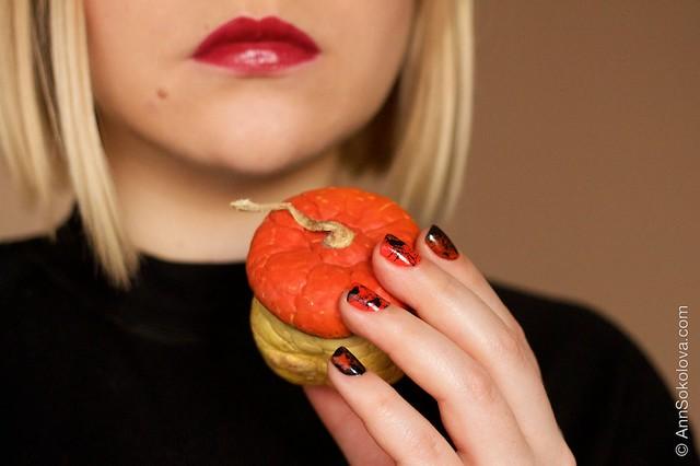 13 Morgan Taylor Halloween Collection 2014   Orange Crush swatches splatter nails Dior Rouge 977 Pied de Poule