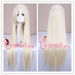 80cm long beige white straight cosplay hair wig CW280-F