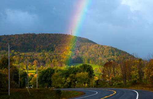 road fall rural rainbow