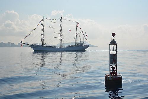 Cuauhtémoc passing sea buoy