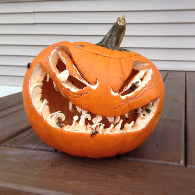 Pumpkin didn't even last a week. Now it just looks like a crazy old toothless man covered in flies and hornets.