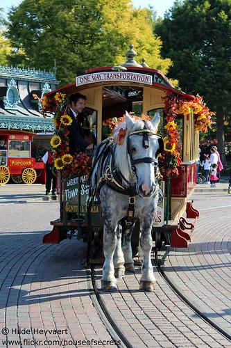 Horse drawn street car goes Halloween