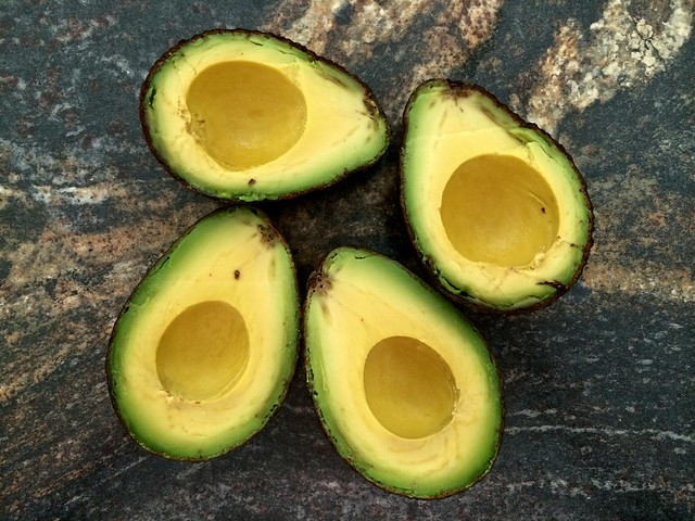 Halved Avocados with Pits Removed