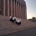 White suits on parliament steps