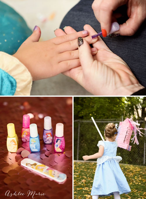 adding some pretty disney princess nail polish and a fun castle pinata for an easy and enjoyable disney princess spa party