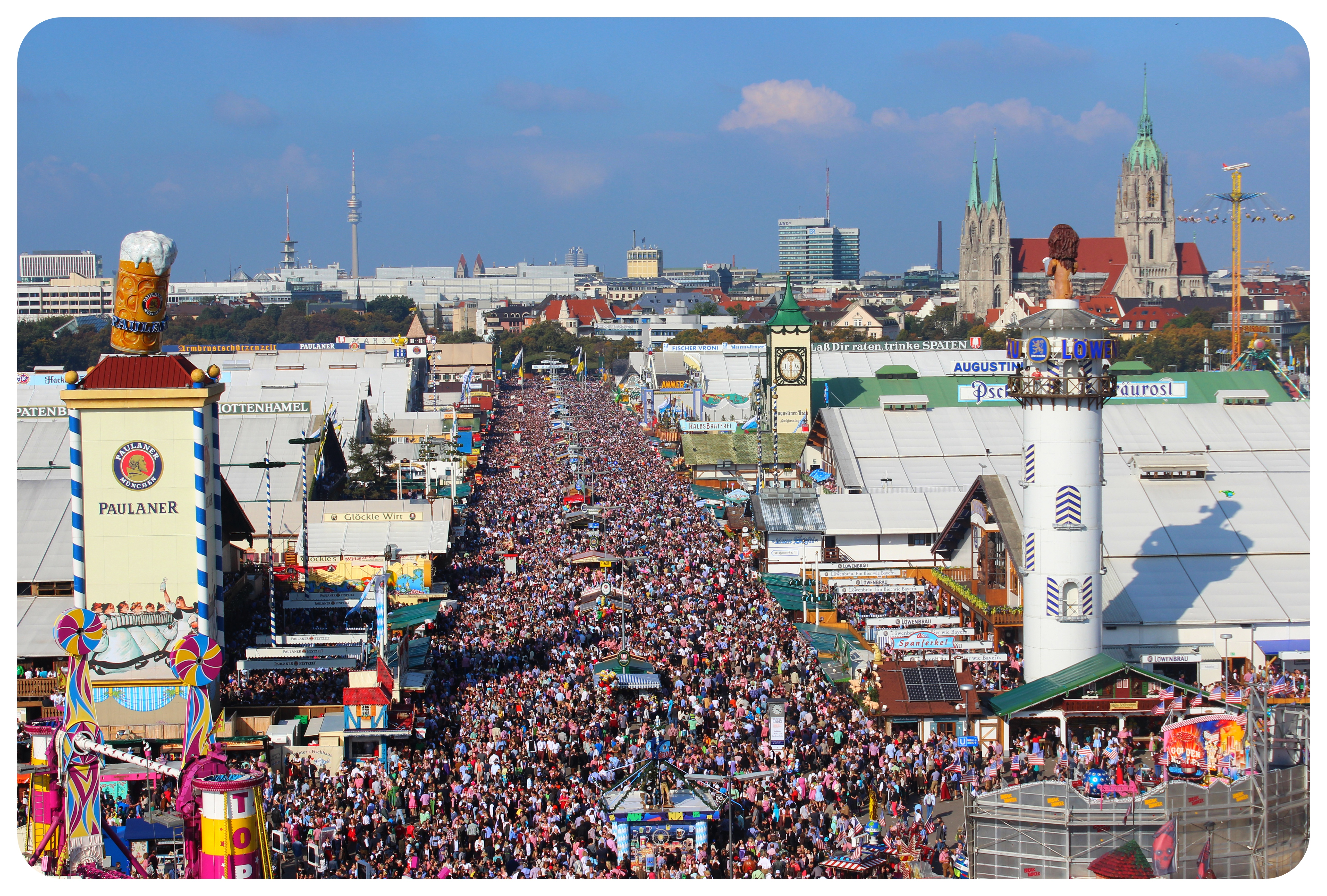 oktoberfest crowds and tents