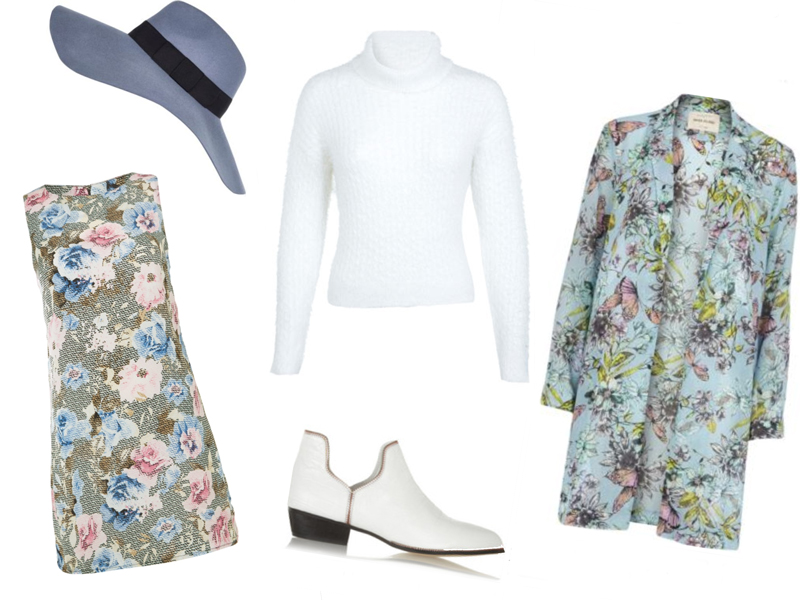 Mallzee, Personal Shopping App, iPhone, iPad, iTunes, River Island, Pastel Blue Fedora, Baby Blue, Floral Duster Coat, '60s, Glamorous, Glamorous.com, Floral Shift Dress, Carpet Print, Miss Selfridge, Roll Neck Jumper, Polo Neck, The Outnet, TheOutnet.com, White Ankle Boots, Sale, UK Style Blog, London Style Blogger, AW14, How to Wear, Outfit Ideas, Styling Inspiration, Sam Muses