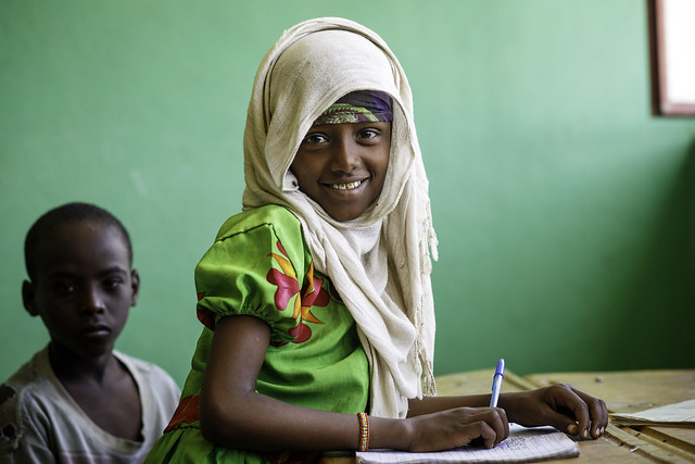 A girl student hard at work at Beseka ABE Center in in Fantale Woreda of Oromia State