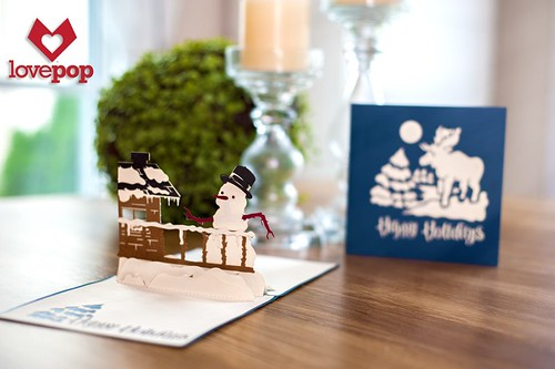 Pop-Up Winter Cabin Snowman Card - LovePop