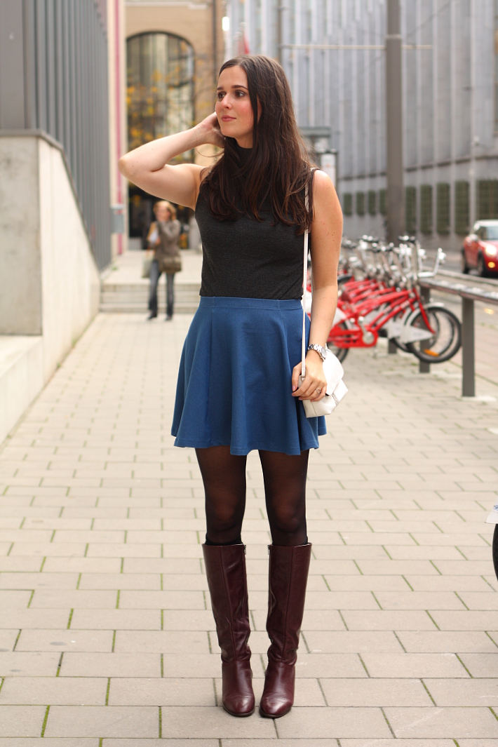 turtle neck knee high vintage boots skater skirt