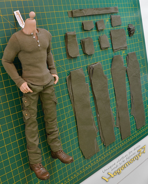 Sixth scale Dexter pants making with angled cargo pockets presented with henley shirt and boots on World Box durable VT002 muscular figure