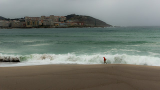 Imagen de Praia do Orzán Playa del Orzán cerca de A Coruña. storm rain coruña