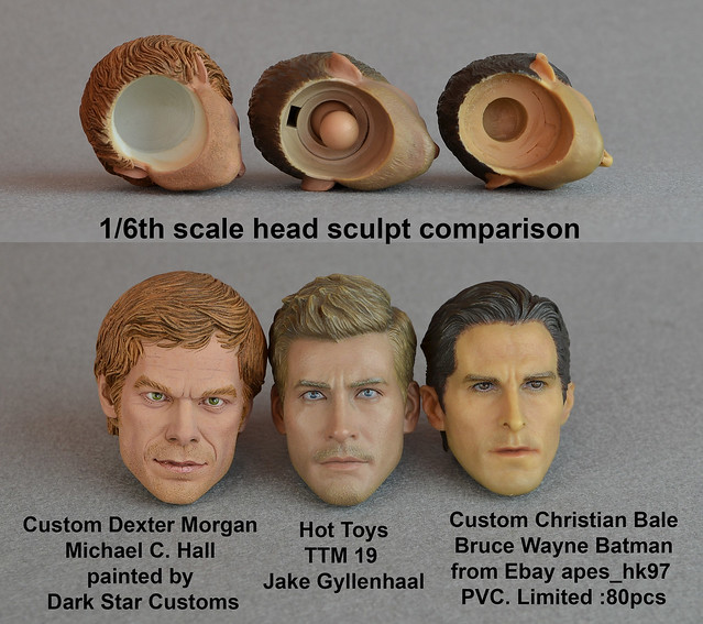 Sixth scale head sculpt comparison - custom Dexter - Hot Toys TTM 19 and Limited PVC Batman