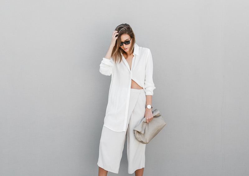 modern legacy fashion blog Australia street style neutrals BC Saba culottes Mode Collective Lunchy leather clutch white leather trainers (1 of 7)