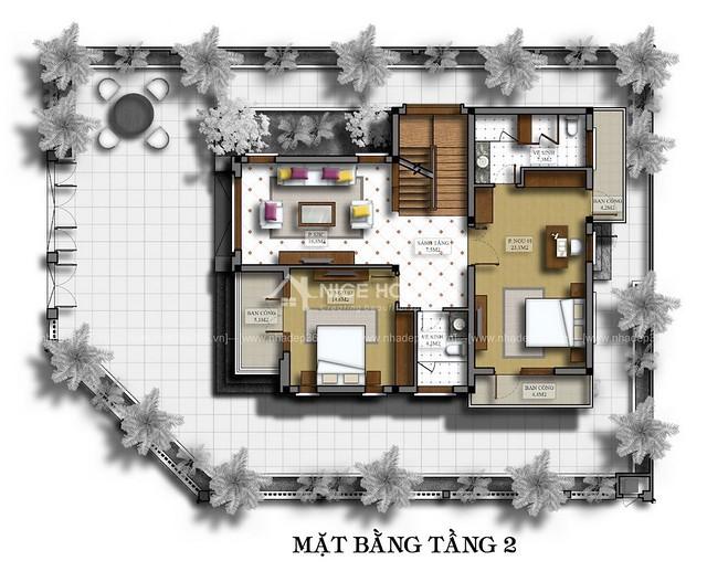 Thiết kế biệt thự 3 tầng Linh Đàm