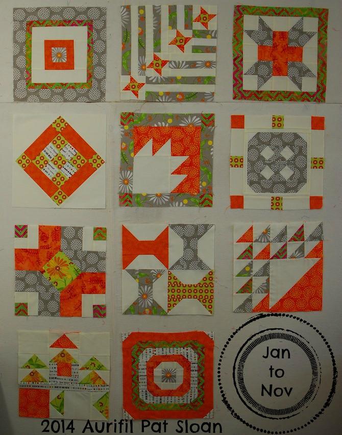 pat sloan 2014 Aurifil Jan to Nov blocks