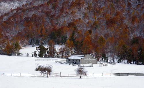 autumn snow rural landscape seasons scenic northcarolina