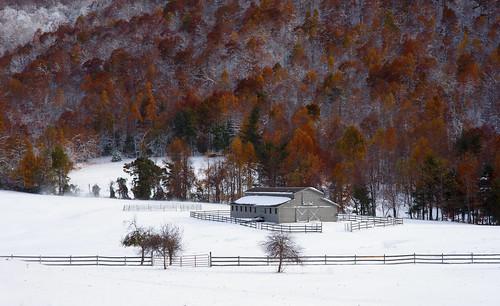 autumn snow rural landscape seasons scenic northcarolina