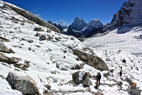 Not as snowy as Cho La Pass, but still an added obstacle