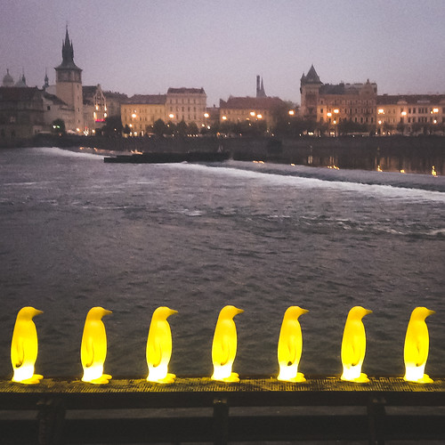 Penguins at night - Prague's Museum Kampa right on the Vltava River.