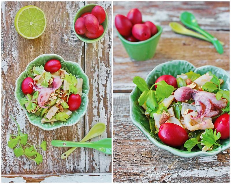 salad with calamari and almonds collage