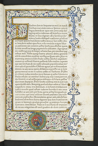 Decorated page with coat of arms in  Leo I, Pont. Max.: Sermones