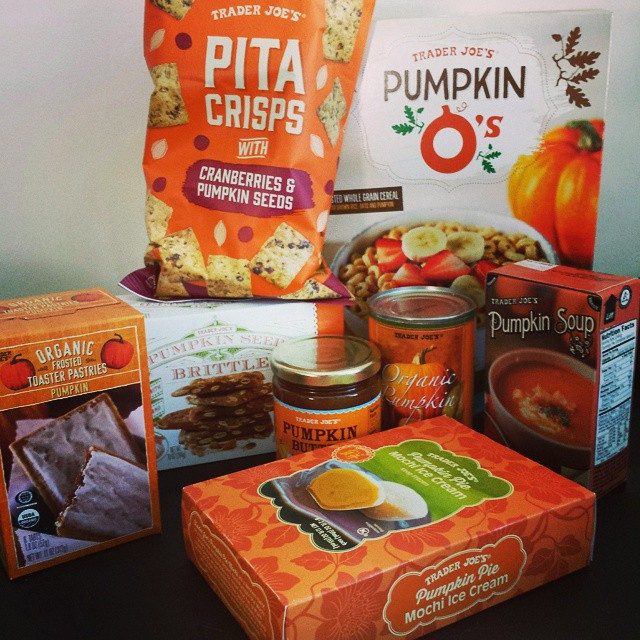 My happy Trader Joe's #pumpkin haul: O's, pita chips, mochi, butter, brittle, canned, pop tarts