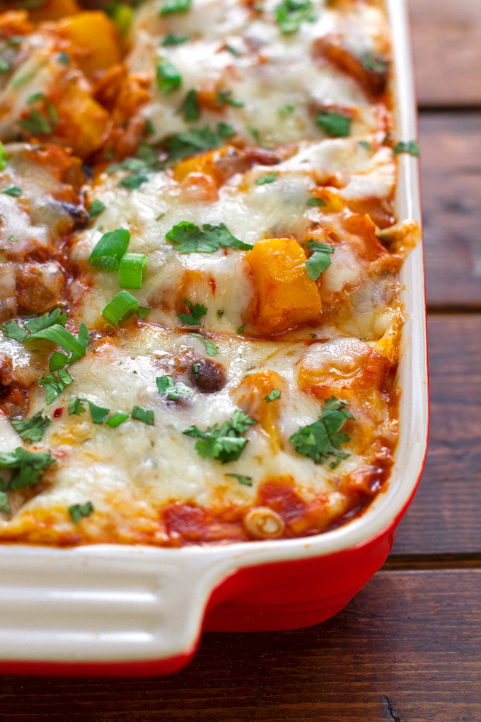 latest obsession. A meatless butternut squash and black bean enchilada ...