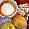 #Breakfast in #Brazil #PãoDeQueijo #latte #cheese #bread #coffee #brasil