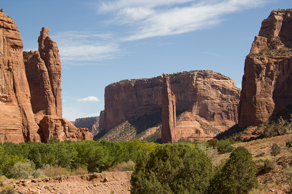 Spider Rock from distance inside Canyon de Chelly