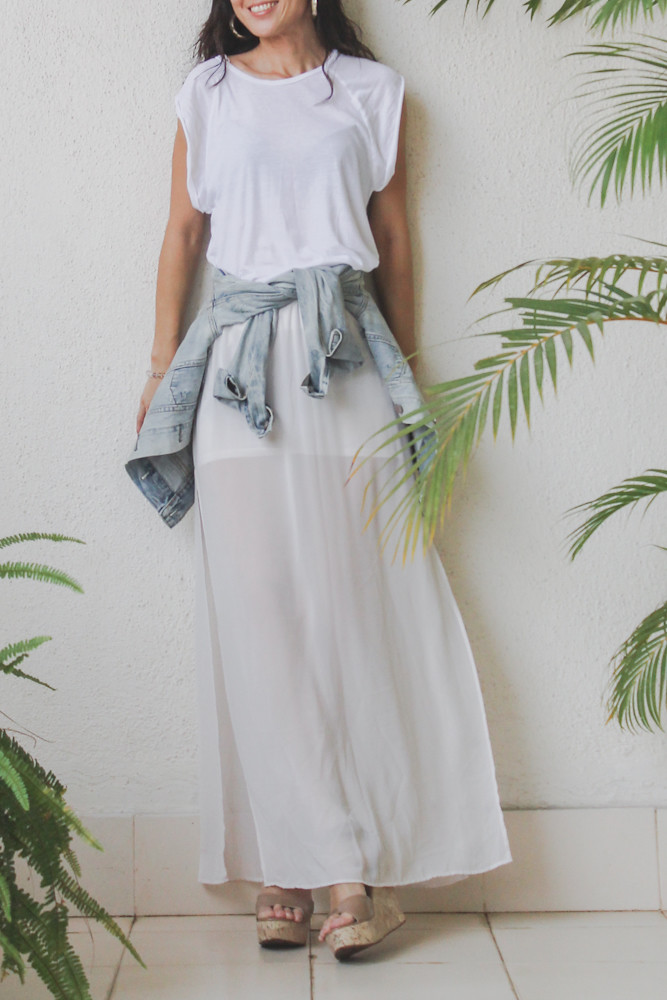 HM sheer maxi skirt denim jacket-11