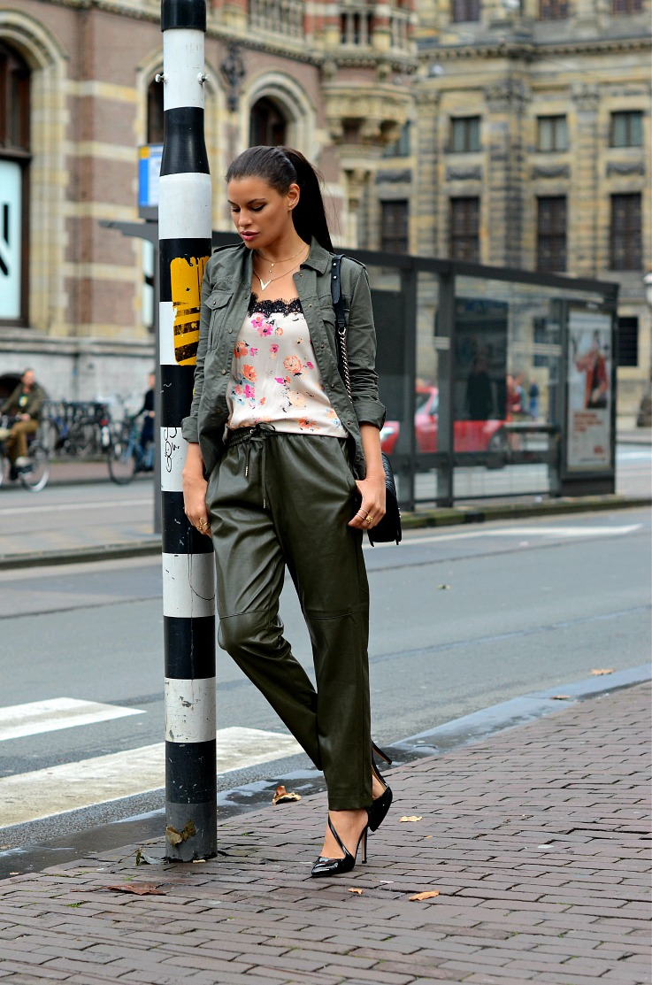 DSC_2669 Army Green leather jogging pants, Zara floral top, Chanel boy bag, Tamara Chloé