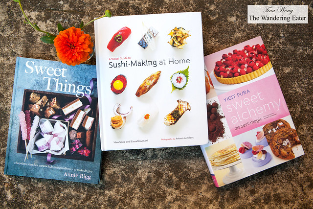 Cookbooks - Sweet Things by Anne Rigg, A Visual Guide to Sushi-Making at Home by Hiro Sone and Lissa Doumani, Sweet Alchemy Dessert Magic by Yigit Pura