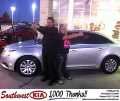 #HappyAnniversary to Miranda Malls on your 2011 #Chevrolet #Cruze from Gary Guyette  at Southwest KIA Rockwall!