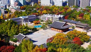 Image of Deoksugung Palace near Seoul. autumn fall palace foliage deoksugung