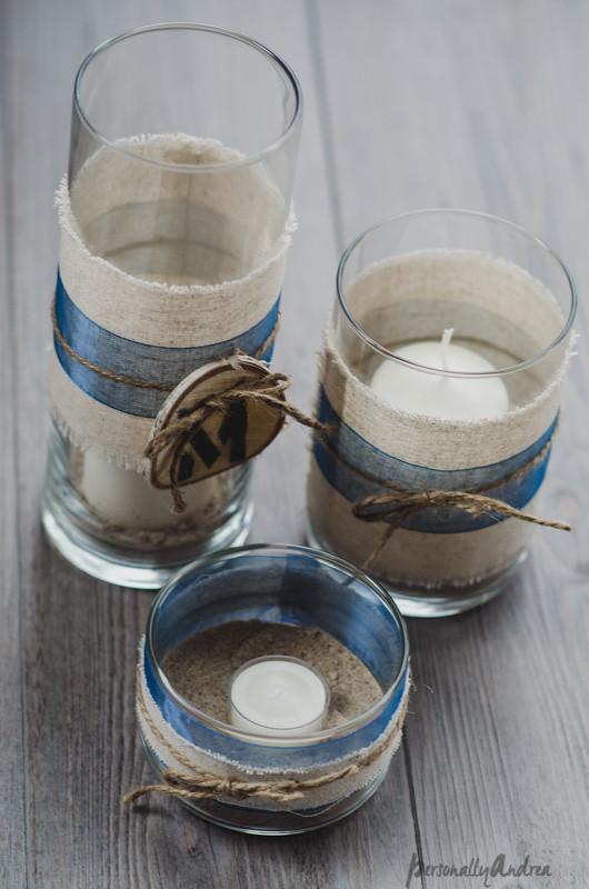 Centerpiece with glass vases, twine and birch slice | personallyandrea.com