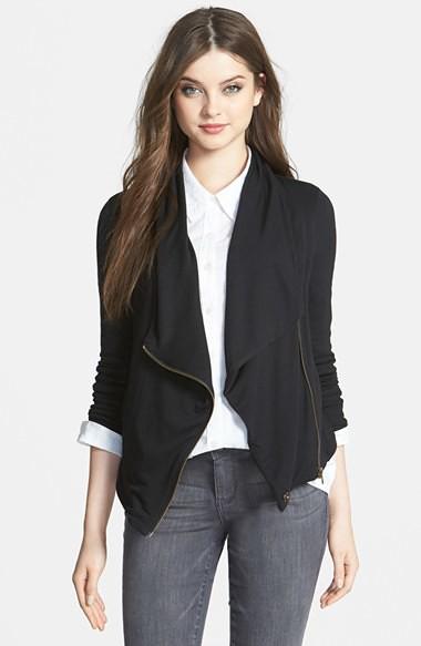 caslon drape neck zip cardigan