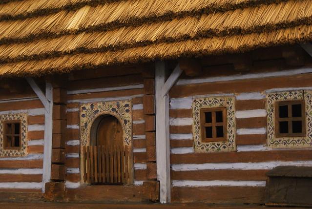 Maquette : Reconstitution d'une chaumière de la région de Cracovie (Petite Pologne).