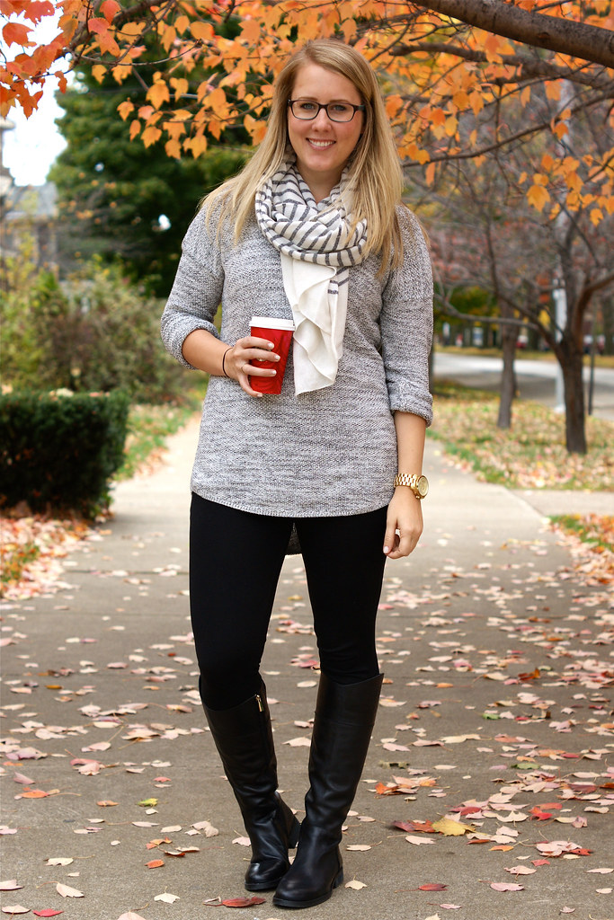 knit sweater with ponte pants and riding boots