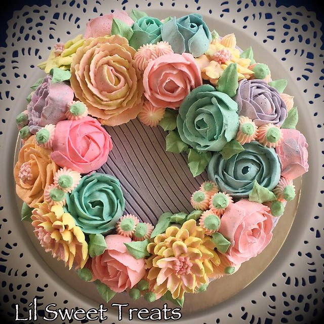 Pretty buttercream flower wreath cake for a Vintage pastel Afternoon Tea Party by Ruth Bungay Roxas of Lil Sweet Treats
