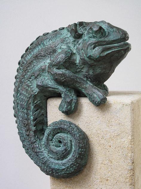 Chameleon, cast bronze.