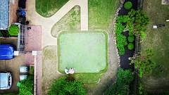 Putting green turned #drone #dji #mavicpro launch pad #backyard