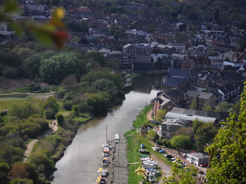 Lewes and River Ouse, from descent path along road from Golf Club