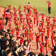 marching band(0.0), musician(0.0), musical ensemble(0.0), marching(0.0), people(1.0), cheering(1.0), crowd(1.0), audience(1.0), person(1.0), social group(1.0), team(1.0),