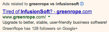 Greenrope vs Infusionsoft banner ad 1