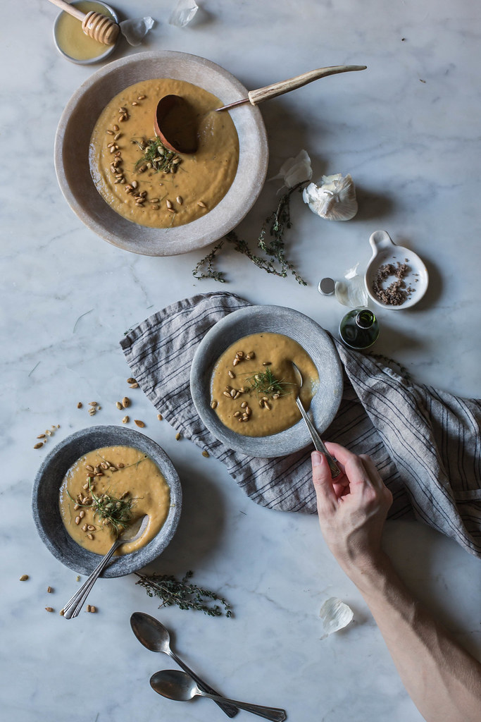 Roasted Butternut Squash & Apple Brandy Soup