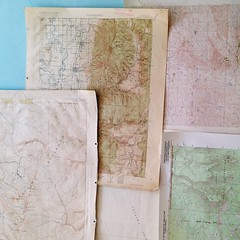 Maps maps maps. Found these beauties at a donation art supply center in town. Now dreaming about art projects. And road trips.