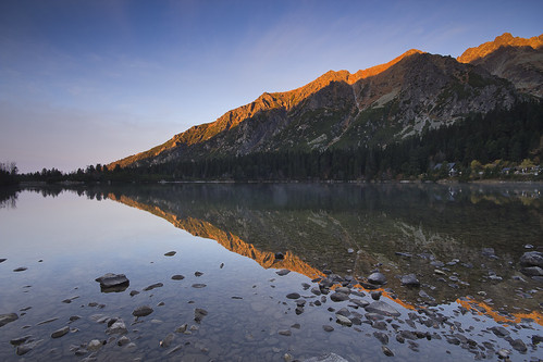 mist lake reflection golden ridge slovakia tatras popradsképleso popradske